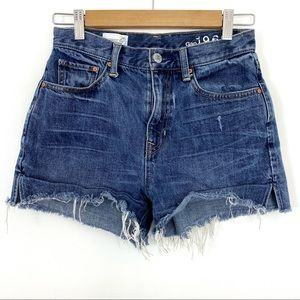 Gap High Waisted Cut-Offs Jean Shorts Medium Wash